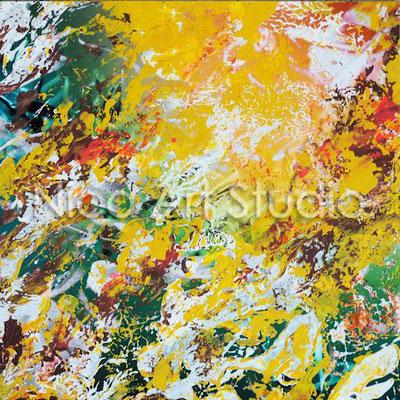 gelbe Abstraktion, 2017, 20 x 20 cm, Fotografie mit Acrylfarbe