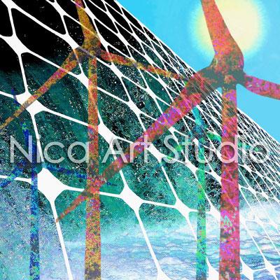 Erneuerbare Energien, 2014, 80 x 80 cm, Digitaler Druck auf Alu Dibond (von Fotos, Zeichnung, Acrylmalerei)