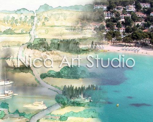 Balearen, 2014, 50 x 40 cm, Aquarellbild und Fotografie digital kombiniert, auf Alu Dibond