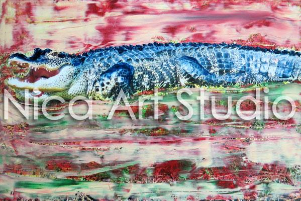 Alligator, 2014, 30 x 20 cm, Fotografie mit Ölfarbe
