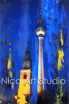 B36, Alexanderplatz, 2017, 20 x 30 cm, Fotografie mit Ölfarbe