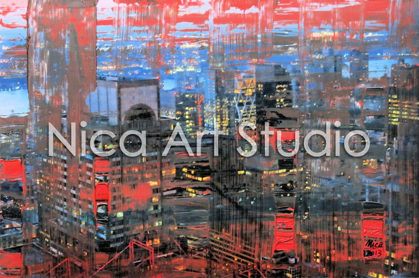 Skyscrapers NYC at night in red-blue, 2013, 30 x 20 cm, photograph with oil paint