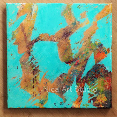 Turquoise abstraction, 2018, 30 x 30 cm, collage and acrylic painting on canvas, resin