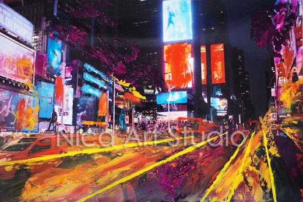 Times Square motions, 2017, 30 x 20 cm, Fotografie mit Ölfarbe