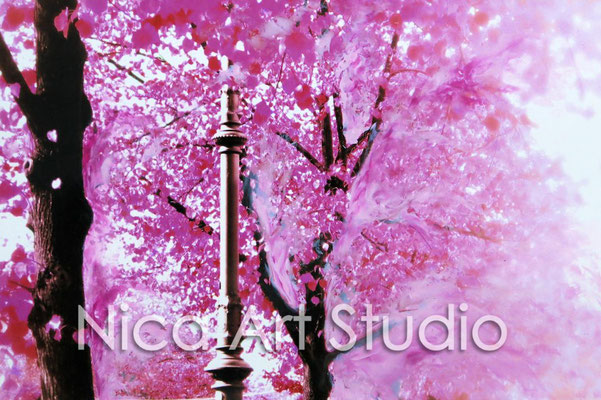Pink alley, 2015, 30 x 20 cm, photograph with oil paint