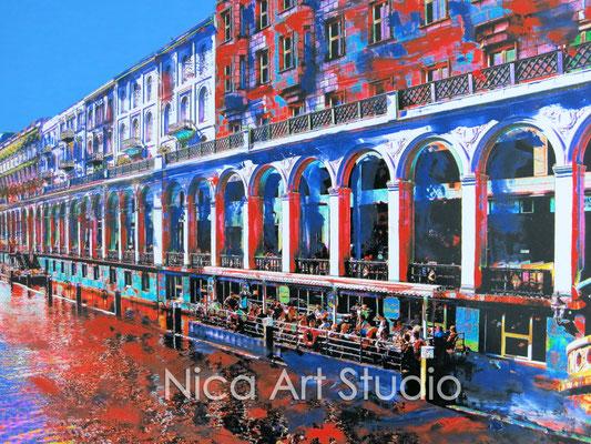 Alsterarkaden bunt, 2015, 40 x 30 cm, Fotografie mit Ölfarbe