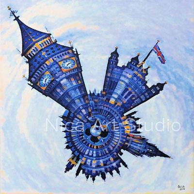 London Littleplanet, 2016, 50 x 50 cm, Leinwandprint mt Acryl- und Gelmalerei