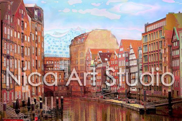Nikolaifleet, 2015, 3 : 2 Format, Print (von Fotografie + hintere Haus/Brückenpartie gezeichnet)