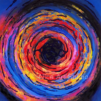 Gedreht, 2021, 30 x 30 cm, Ölmalerei auf Fotografie