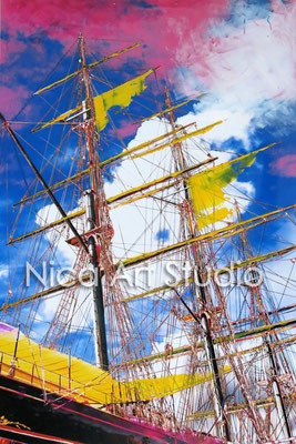 Sailing boat, 2015, 20 x 30 cm, photograph with oil paint