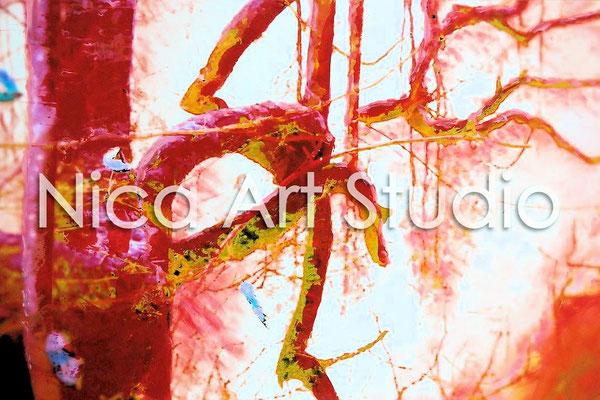 Rote gespiegelte Zweige, 2015, 30 x 20 cm, Fotografie mit Ölfarbe