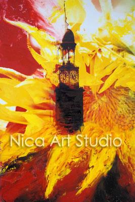 Michel und Sonnenblume, 2015, 20 x 30 cm, Fotografie mit Ölfarbe