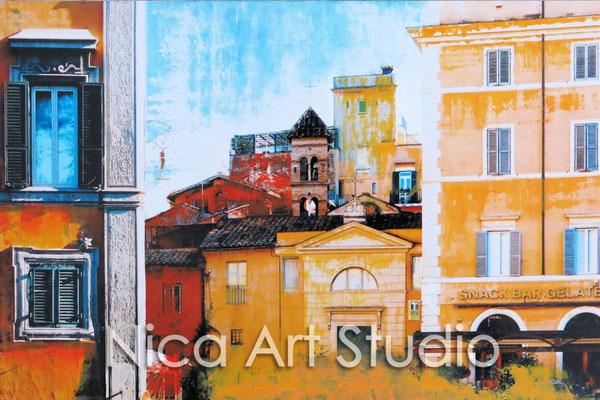 Trastevere, 2015, 30 x 20 cm, Fotografie mit Ölfarbe