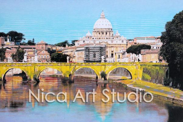 Petersdom, 2015, 30 x 20 cm, Fotografie mit Ölfarbe