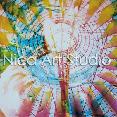 B2, Sony Center mit Blumen, 2015, 30 x 30 cm, Fotografie mit Ölfarbe