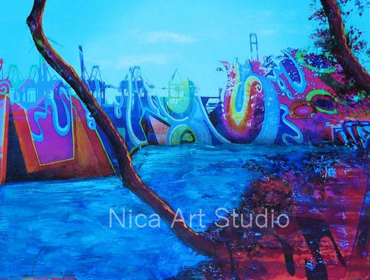 Hafen Graffiti, 2018, 20 x 26,5 cm, Fotografie mit Ölfarbe