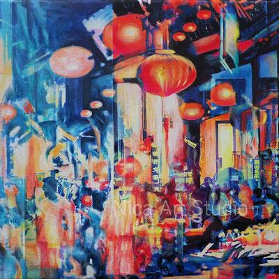 Lantern illumination, 2020, 30 x 30 cm, canvas print with acrylic painting