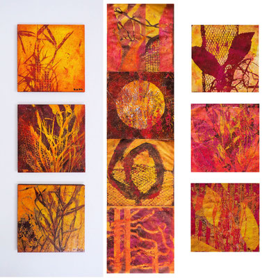 Monotypes, each 20 x 20 cm, handprinted with acrylics, partly fixed on boards
