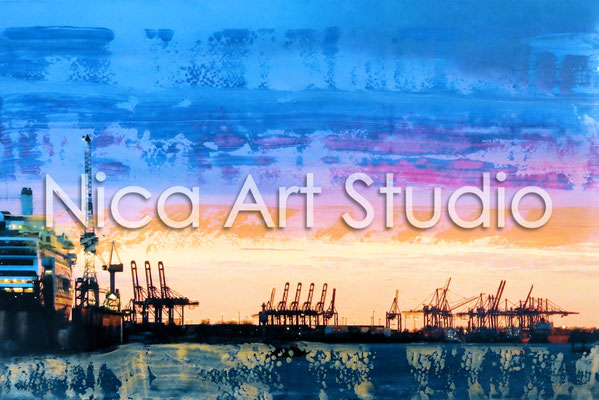 Harbour in the evening, 2015, 20 x 30 cm, photograph with oil paint, in the gallery KuRa