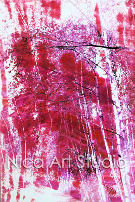 Birches in red, 2015, 20 x 30 cm, photograph with oil paint