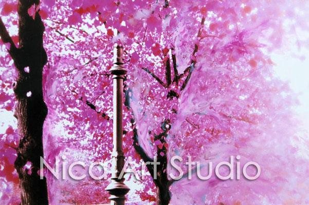 Rosa Allee, 2015, 30 x 20 cm, Fotografie mit Ölfarbe