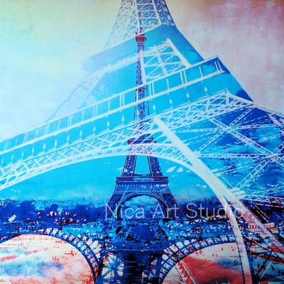 Eiffelturm, 2018, 60 x 60 cm, Fotodruck auf Alu Dibond mit Ölfarbe