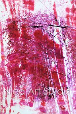 Birken, 2015, 20 x 30 cm, Fotografie mit Ölfarbe