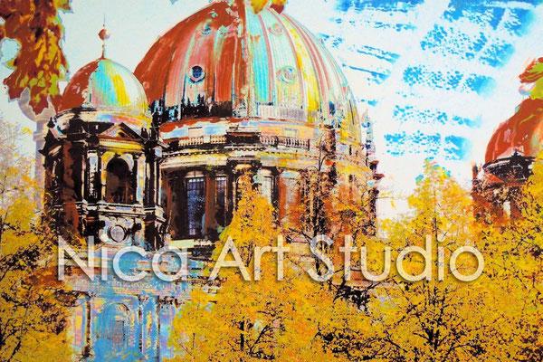 B9, Berliner Dom über den Bäumen, 2015, 30 x 20 cm, Fotografie mit Ölfarbe