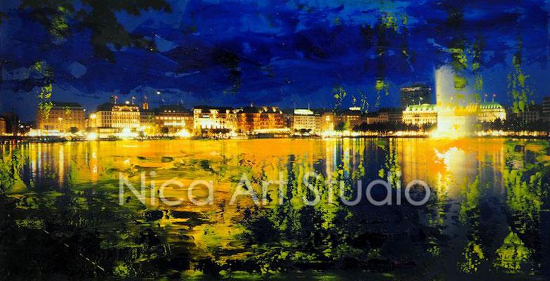 An der Alster abends, 2017, 30 x 15 cm, Fotografie mit Ölfarbe