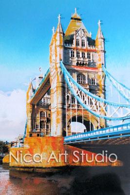 Towerbridge, 2015, 20 x 30 cm, Fotografie mit Ölfarbe