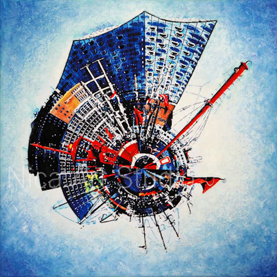 Port of Hamburg littleplanet, 2017,  50 x 50 cm, canvas print with oil color