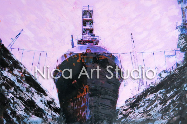Ship in the dock, 2015, 30 x 20 cm, photograph with oil paint