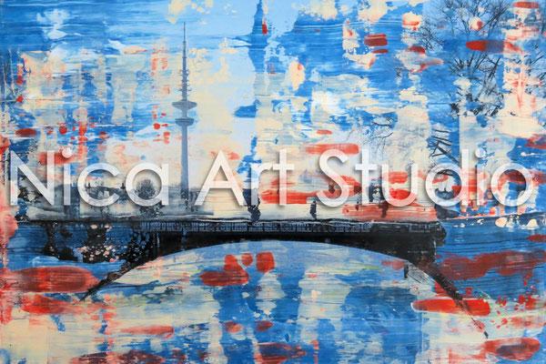 Lombardsbrücke, 2014, 30 x 20 cm, Fotografie mit Ölfarbe