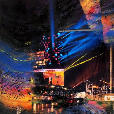 Elbphilharmonie mit Farben, 2021, 20 x 20 cm, Ölmalerei auf Fotografie