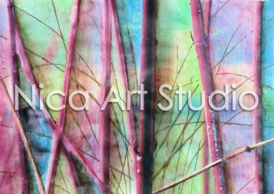 Rote Zweige, 2015, 30 x 21 cm, Papierdruck mit Aquarell und Moorlauge
