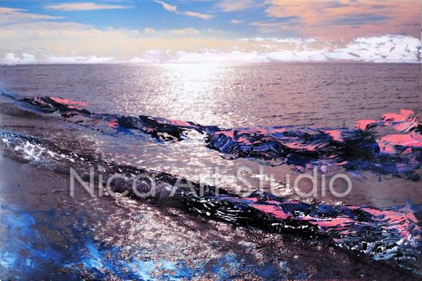 Wellen, 2017, 30 x 20 cm, Fotografie mit Ölfarbe, in der Galerie KuRa Hamburg