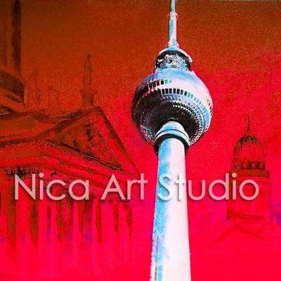 B21.1, Fernsehturm & Gendarmenmarkt rot, 2016, 20 x 20 cm, Print