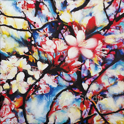 Blossoms in the wind, 2020, 40 x 40 cm, canvas print with acrylic painting