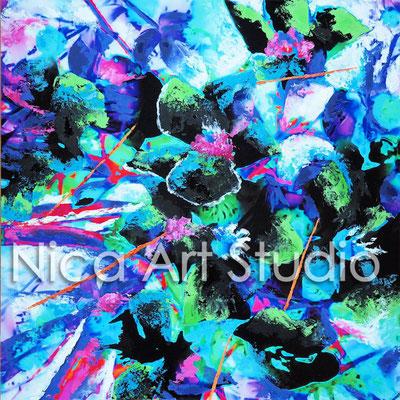 Flower Power, 2015, 60 x 60 cm, Fotoarbeit auf Alu Dibond mit Ölmalerei