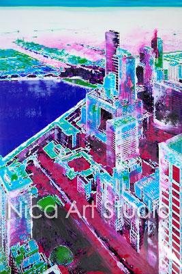 Chicago view, 2017, 20 x 30 cm, Fotografie mit Ölfarbe