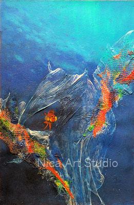 Leben im Meer, 2020, 59,5 cm x 91,5 cm, Acrylmalerei mit Collage und Leuchtfarben (fluoreszierend), s. Aktuell