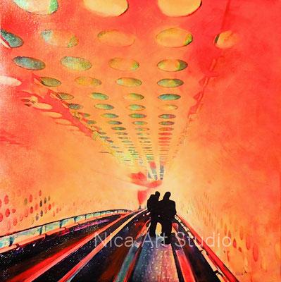 Abwärts im Bogen, 2019, 40 x 40 cm, Leinwanddruck mit Acrylmalerei, UV- Schutz