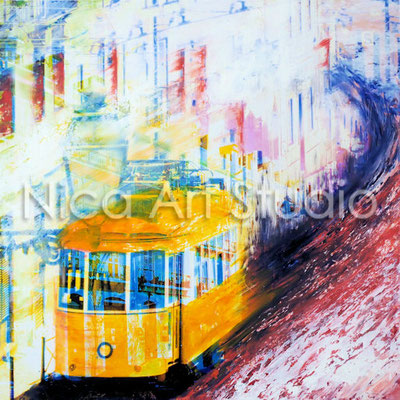Tram, 2017, 30 x 30 cm, photography with oil color