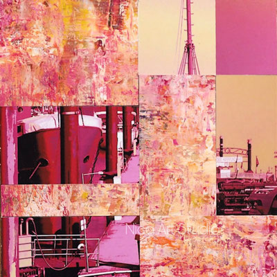 Pink harbour collage mini, 2020, 20 x 20 cm, Photowork and oilcolor painting on mdf
