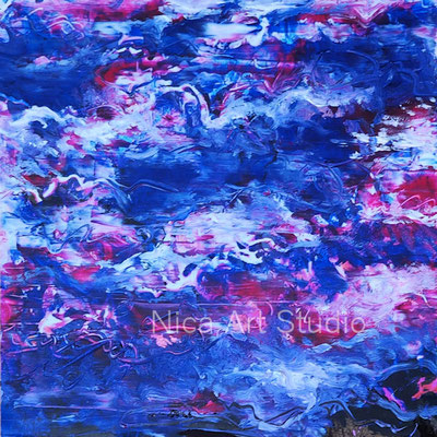 Wolken Abstraktion, 2018, 20 x 20 cm, Fotografie mit Ölfarbe, in der Galerie KuRa Hamburg