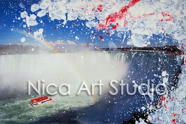Niagara Falls, 2017, 30 x 20 cm, photography with oil color