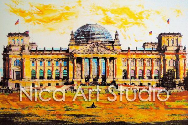 B18, Reichstag, 2016, 30 x 20 cm, Fotografie mit Ölfarbe