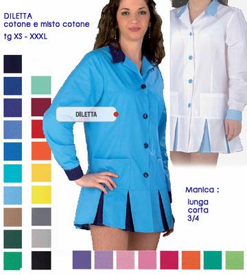 DILETTA casacca con bottoni e colletto a camicia. Manica lunga o corta. Vestibiltà sciancrata. Colori a Tua scelta