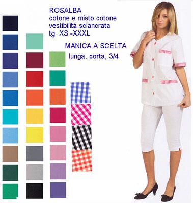 ROSALBA casacca con bottoni manica corta o lunga. Vestibilità sciancrata. Colori e inserti a contrasto a Tua scelta