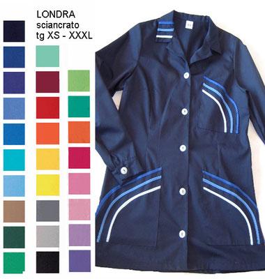 LONDRA casacca con bottoni, manica corta o lunga. Colletto a camicia. Vestibilità sciancrata. Colori e inserti a contrasto a Tua scelta
